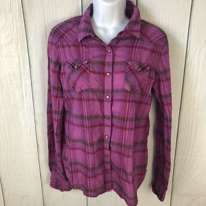 Mossimo sized M purple plaid button up